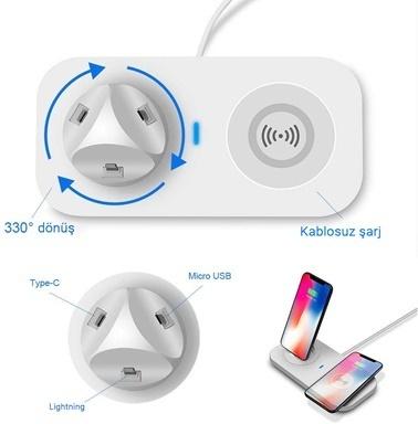 Microsonic Usb To 3 in 1 Masaüstü Şarj Dock ve Kablosuz Şarj Cihazı Micro Lightning Type-C Beyaz Beyaz